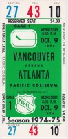 1974 Vancouver Canucks ticket stub vs Atlanta Flames