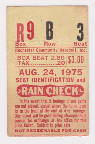 1975 Rochester Red Wings ticket stub