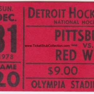 1978 Detroit Red Wings ticket stub vs Pittsburgh Penguins 12/31/1978
