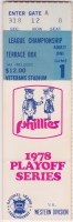 1978 NLCS Game 1 ticket stub Dodgers vs Phillies