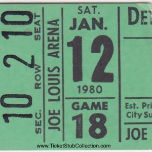 1980 Detroit Red Wings ticket stub vs Hartford Whalers 1/12/1980