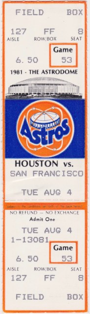 1981 Houston Astros ticket stub vs Giants