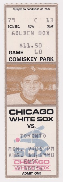 1990 White Sox ticket stub vs Blue Jays