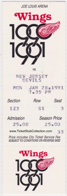 1991 Detroit Red Wings ticket stubs vs New Jersey Devils