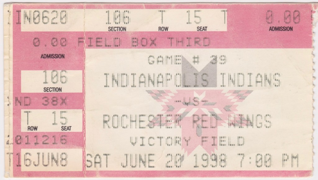 1998 Indianapolis Indians ticket stub vs Rochester