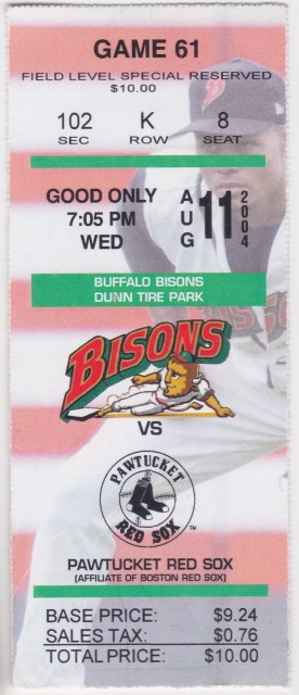 2004 Buffalo Bisons ticket stub vs Pawtucket Red Sox