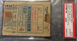 1938 Lou Gehrig Last World Series Game Ticket Yankees Clinch 7th Title G4 245