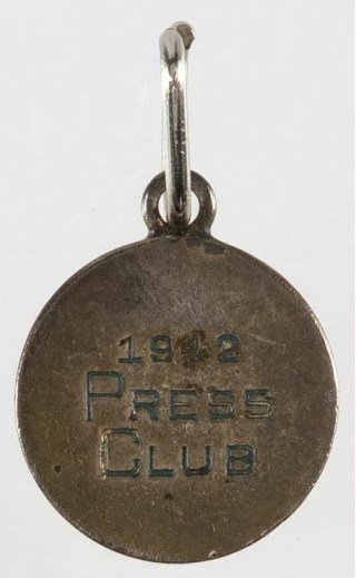1942 Brooklyn Dodgers Baseball Press Club Pass reverse
