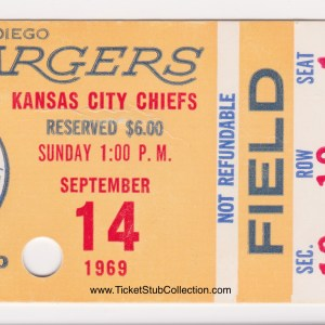 1969 San Diego Chargers ticket stub vs Chiefs for sale