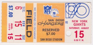 1970 San Diego Chargers ticket stub vs Giants