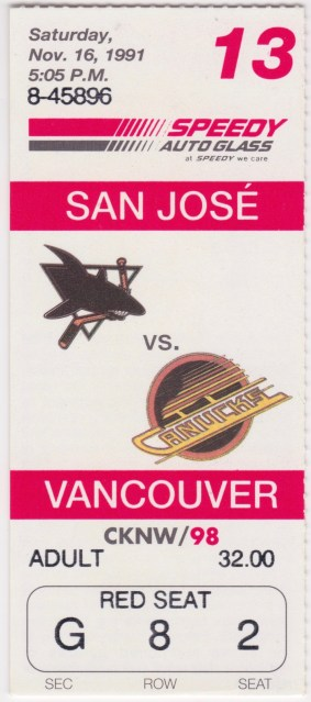 1991 Vancouver Canucks ticket stub vs Sharks 8