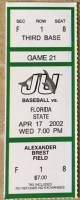 2002 NCAAB Jacksonville University ticket stub vs Florida State