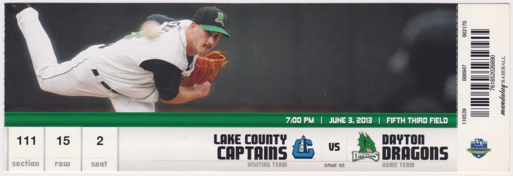 2013 Dayton Dragons ticket stub vs Lake County