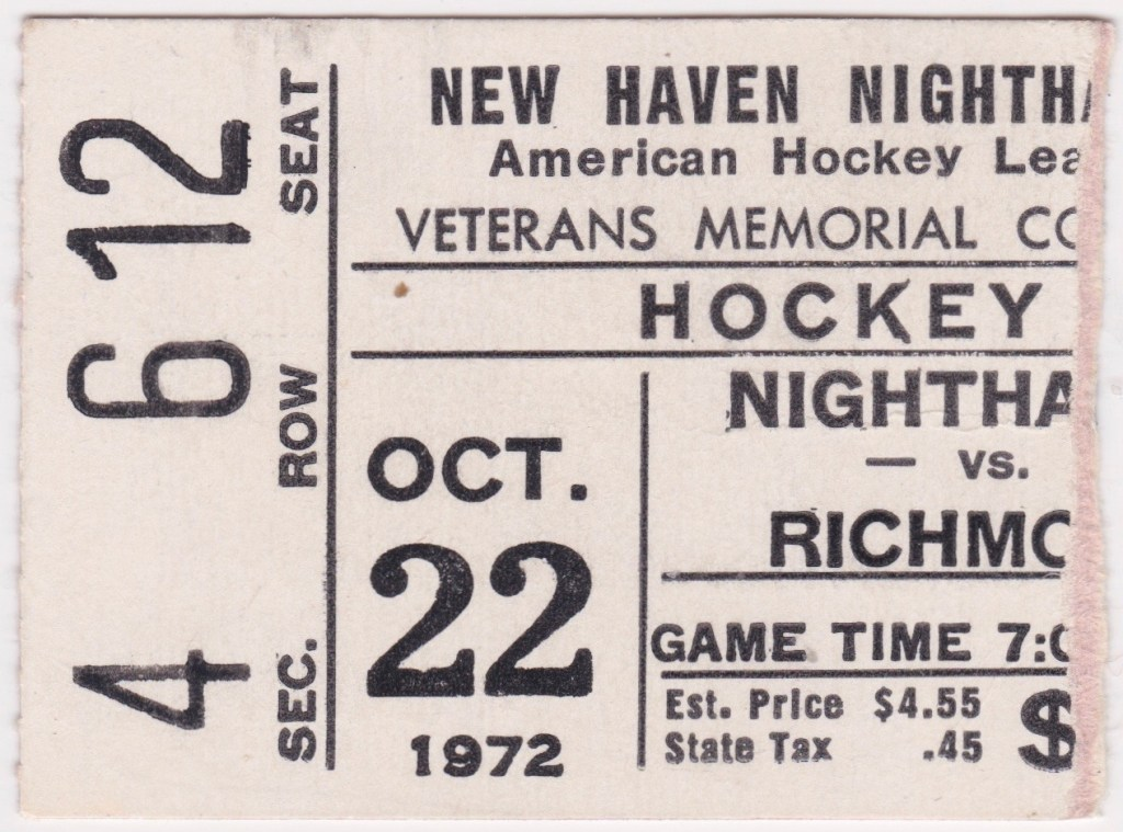 1972 AHL New Haven Nighthawks ticket stub vs Richmond