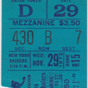 1972 WHA New York Raiders ticket stub vs New England Whalers for sale