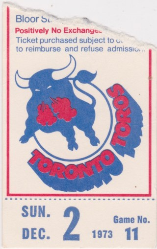 1973 WHA Toronto Toros ticket stub vs Houston Aeros for sale