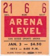 1973 WHL San Diego Gulls ticket stub vs Russian National Team