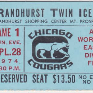 1974 WHA Chicago Cougars playoffs ticket stub vs Toronto for sale