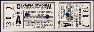 1961 NHL Playoffs Detroit Red Wings full ticket vs Toronto Maple Leafs 250