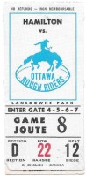 1973 CFL Ottawa Rough Riders ticket stub vs Hamilton