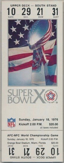 1976 Super Bowl X ticket stub Steelers vs Cowboys
