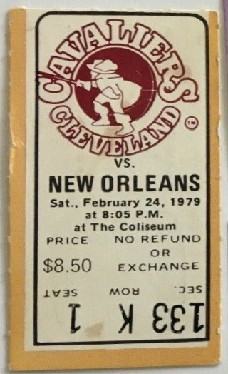 1979 Cavaliers ticket stub vs New Orleans