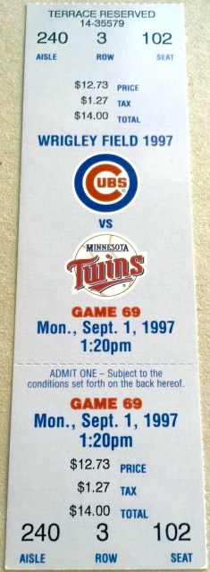 1997 Sammy Sosa HR 202 Cubs vs Twins Full Ticket 10