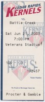 2003 Cedar Rapids Kernels ticket stub vs Battle Creek