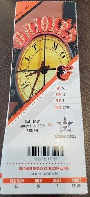 2019 Baltimore Orioles ticket stub vs Astros Yordan Alvarez 3 HR 12.84