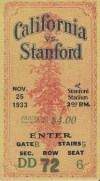 1933 NCAAF Stanford ticket stub vs California