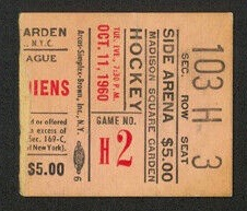 1960 New York Rangers ticket stub vs Montreal