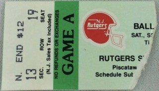 1989 NCAAF Rutgers ticket stub vs Ball State