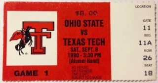 1990 NCAAF Ohio State Buckeyes ticket stub vs Texas Tech