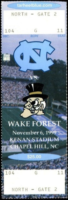 1999 NCAAF North Carolina ticket stub vs Wake Forest 10