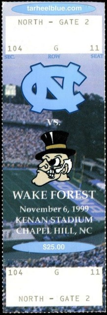 1999 NCAAF North Carolina ticket stub vs Wake Forest