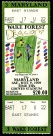1999 NCAAF Wake Forest ticket stub vs Maryland