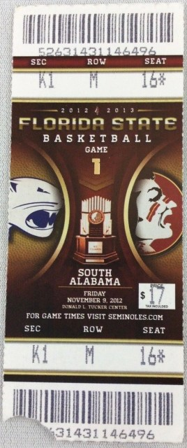 2012 NCAAMB Florida State ticket stub vs South Alabama