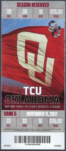 2017 NCAAF Oklahoma ticket stub vs TCU 12