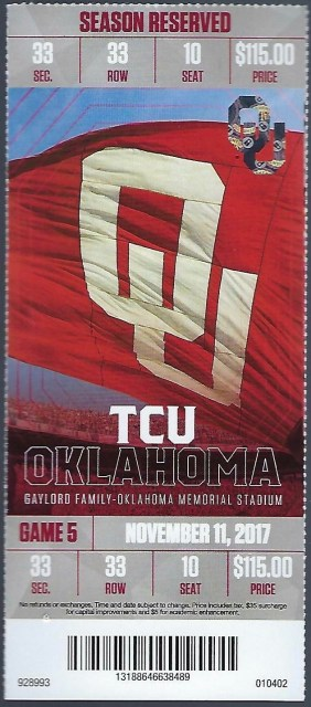 2017 NCAAF Oklahoma ticket stub vs TCU