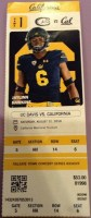 2019 NCAAF California Golden Bears ticket stub vs UC Davis
