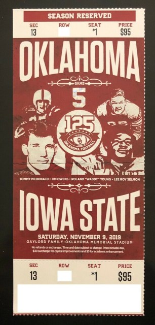 2019 NCAAF Oklahoma Sooners ticket stub vs Iowa State