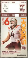 2019 NCAAF Virginia Tech ticket stub vs Wake Forest