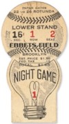 1938 Johnny Vander Meer 2nd No Hitter ticket stub