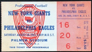 1965 Philadelphia Eagles ticket stub vs Giants at Palmer Stadium