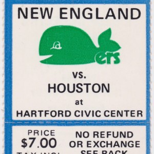1975 WHA New England Whalers ticket stub vs Houston for sale