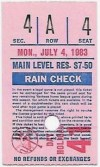 1983 Dave Righetti No Hitter ticket stub