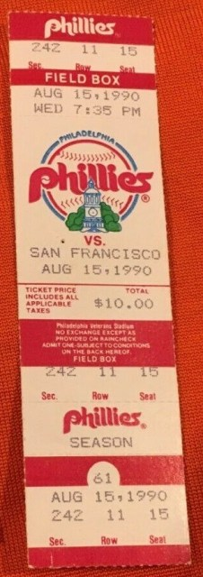 1990 Terry Mulholland No Hitter ticket stub