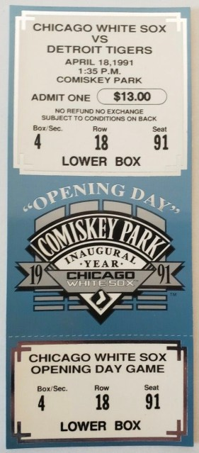 1991 Chicago White Sox ticket stub vs Tigers New Comiskey Opening 16