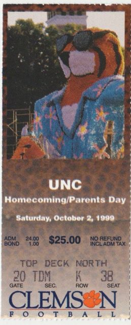 1999 NCAAF CLEMSON TICKET STUB VS NORTH CAROLINA