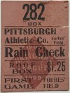 1909 Inaugural Game Forbes Field ticket stub